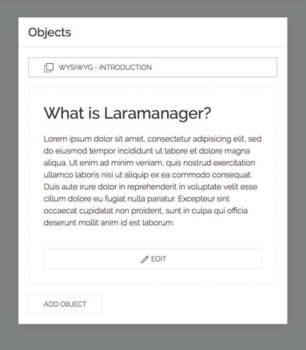 Laramanager object preview